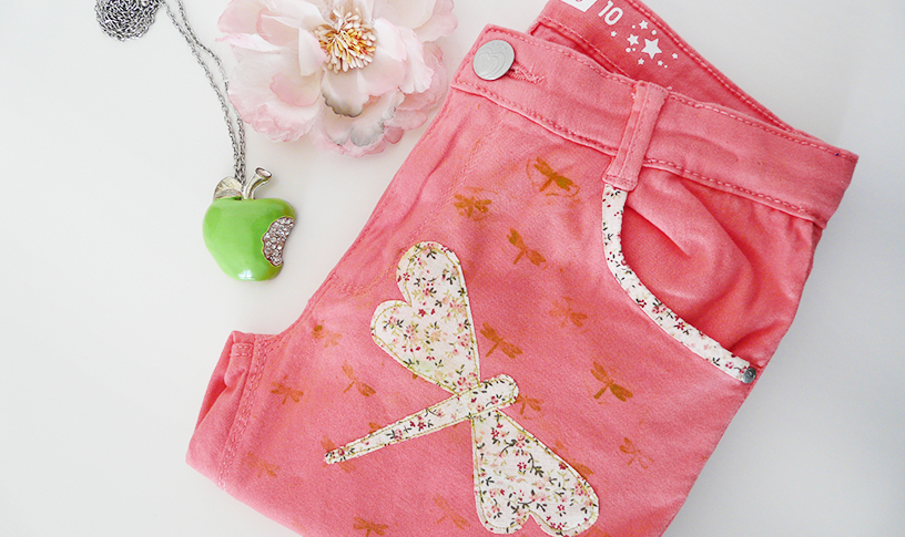 Pantalon-enfant-customisation-libellule