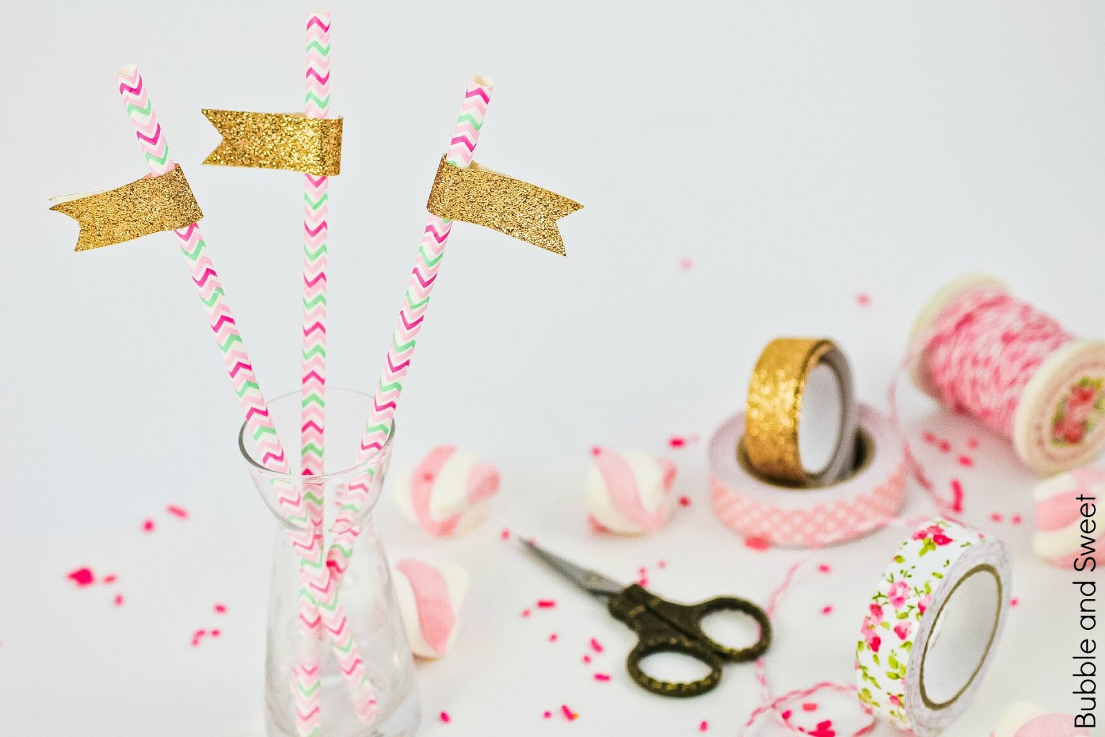 If in doubt add glitter always add glitter or gold pink washi tape decoration ideas budget party straws pretty flags bunting