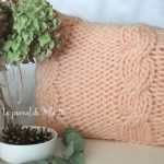 coussin tricot torsade